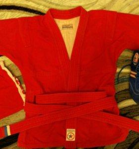 Кимоно для самбо с борцовками красная и синяя