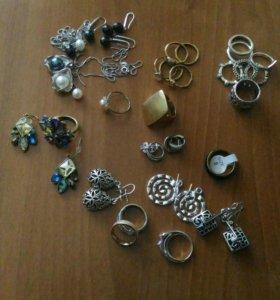 Бижутерия, серебро, серьги и кольца