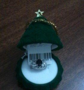 Кольцо серебряное с облагорож сапфиром и цирконием