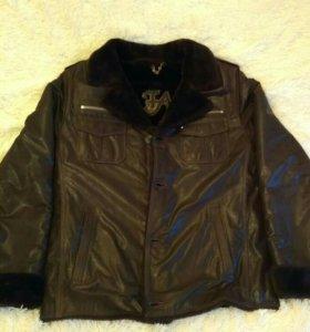 Мужская кожаная зимняя куртка.