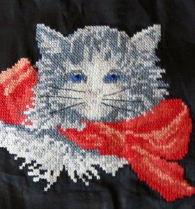 Вышивка крестом Кот с бантом наволочка 27х35 см