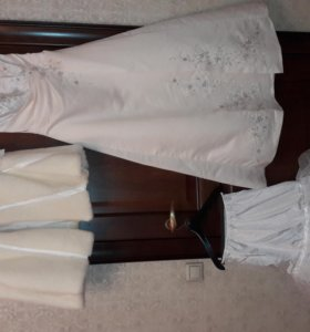 Свадебное платье, подъюбник, пелерина, перчатки