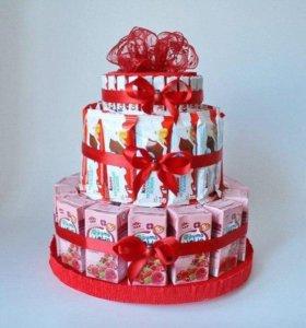 Торт с сока и конфет