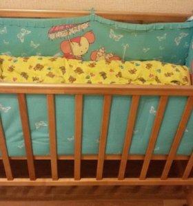Кроватка + матрас + бортики + постельное