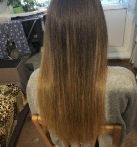 Наращивания волос, капсуляция,снятие,окрашивания