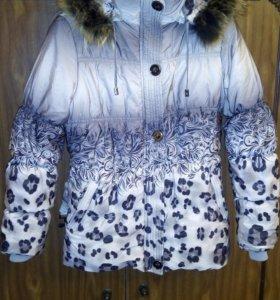 Тёплая куртка на флисе, капюшон на молн, мех-енот.