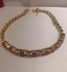 Браслет золото 750 проба с рубинами и бриллиантами