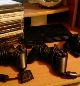 Sony Playstation 2 +3 джойстика +13 дисков