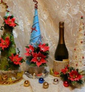 Ёлочка-футляр для шампанского с конфетками