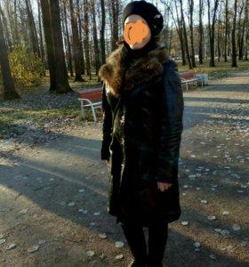 Кожаное зимнее пальто дубленка