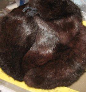 Шапка-ушанка из нат.кролика, тёмно-коричневая