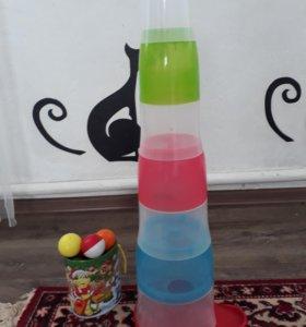 Игрушка пирамида- башня с шариками
