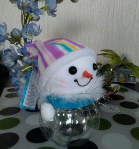 Снеговик- новогодняя подарочная баночка