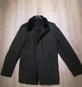 Пальто мужское зимнее шерстяное утепленное, р.50