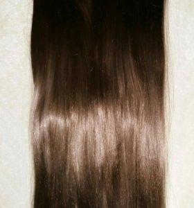 Волосы искуственные на заколках + хвост в подарок