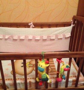 Кроватка с маятником+матрас+бортики в подарок