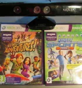 Продам cinekt Xbox 360 + 2 игры, без игр дешевле