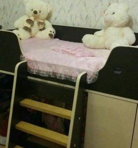 Кровать чердак+подарок матрац,покрывало и игрушка