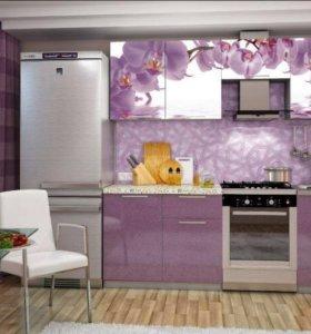 Кухонный гарнитур с фотопечатью орхидея