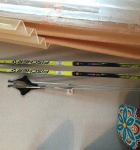 Лыжи беговые Fischer COLD MEDIUM 185, палки 153