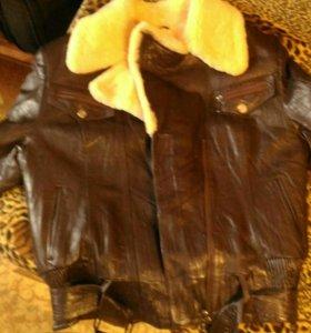 Куртка зимняя кожаная с натуральным мехом