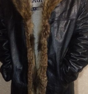 Мужская зимняя  кожаная куртка на меху.
