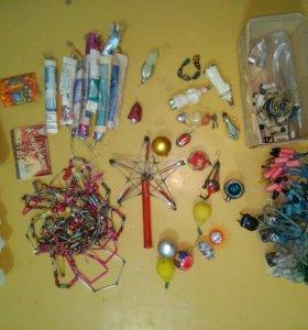 Новогодние украшения игрушки ёлочные стекло ссср