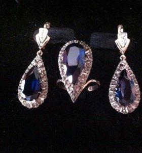Золотой комплект с сапфиром и бриллиантами