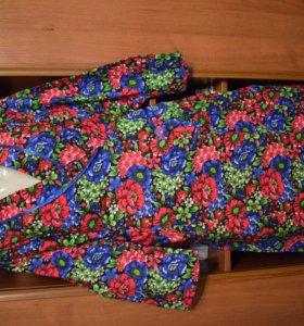 Фланелевый халат с запахом, 62 размер