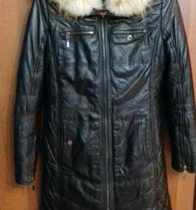 Кожанное с подстежкой пальто