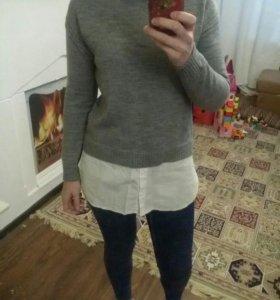 Джемпер с рубашкой 2 в1