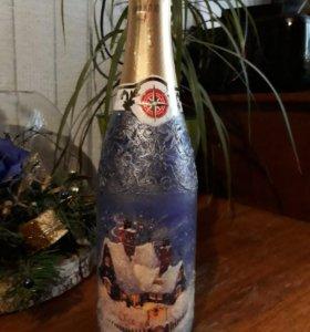 Украшаю бутылки
