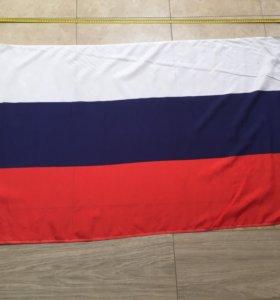 Российский флаг триколор с древком