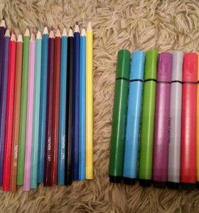 Набор цветных карандашей и фломастеров