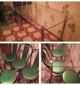 Стол стеклянный+ стулья