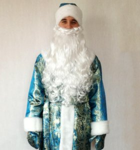 Костюм Деда Мороза синий парча
