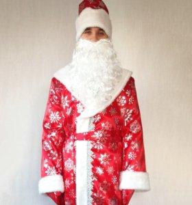 Костюм Деда Мороза сатиновый новый