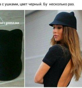 Шляпка с ушками (черная)