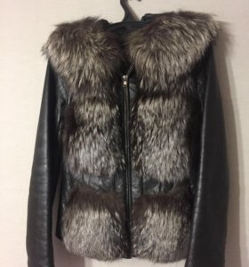 Куртка кожаная с чернобуркой