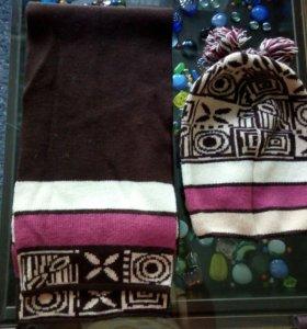 Новый комплект шапка + шарф 60% шерсть.