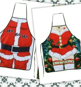 Новогодний фартук Санта Клаус Снегурочка