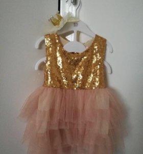 Детское нарядное платье+корона