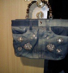 Дизайнерская джинсовая сумка