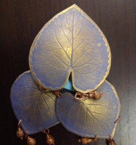 Комплект Лист Фиалки: серьги и брошь