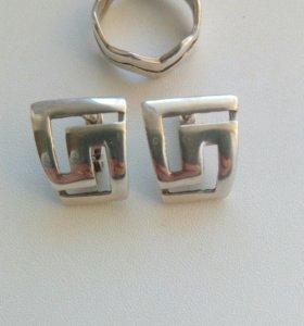 Серебро(серьги и кольцо)