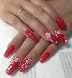 Наращивание ногтей+маникюр+дизайн (Московский)