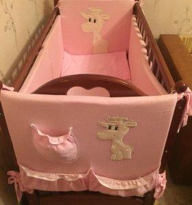 Детская кроватка- маятник+бортики и комплект