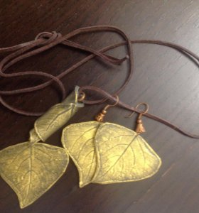 Комплект Листья Черного тополя: подвеска и серьги
