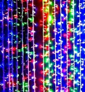 Гирлянда-штора светодиодная разноцветная 1.5*1.5
