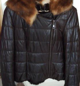 Куртка кожаная зимняя на натуральном мехе